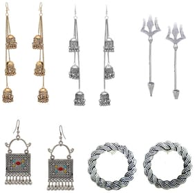 Zcarina Silver Golden Oxidised Earrings Combo of 5 Pairs