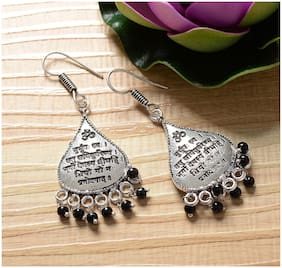 Zcarina Silver Plated Black Beads Earring Set For Women & Girls