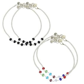 Zcarina Silver Plated Fashionable Colorful 2 Anklet Combo for Girls