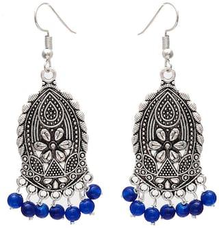 Zcarina Silver Plated Ethnic Jhumki Earrings For Women & Girls