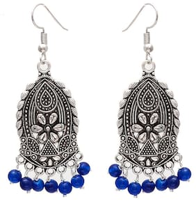 Zcarina Silver Plated Ethnic Jhumki Earrings For Women & Girls