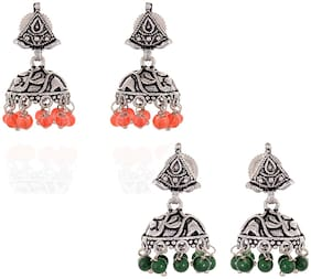 Zcarina Silver Plated Tops Jhumki Combo Set for Women