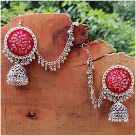 Zcarina Silver  Enamal Oxidised Chain Earrings