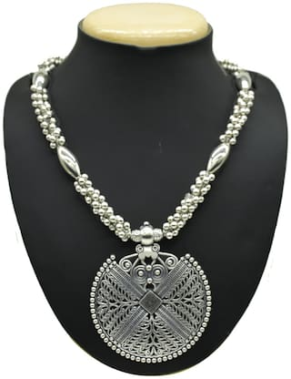 Zcarina Silver Oxidised Plated Ghunghroo Necklace For Girls and Women
