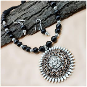 Zcarina Silver Plated Temple Jewelry Black Beads Necklace