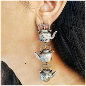 Zcarina Silver Plated Teapot Kettle Layers Earring For Girls