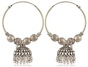 Zcarina Silver Plated Brass Chandbali Earrings for Girls and Women