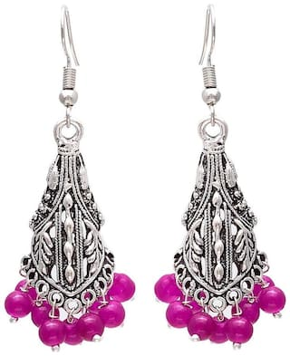 Zcarina Silver Plated Traditional Jhumki Earrings For Women & Girls