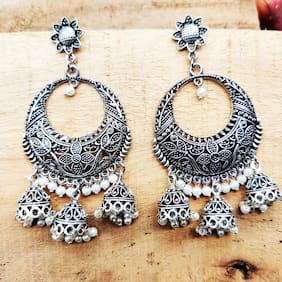Zcarina Silver Plated White Beads Jhumki Earring Set for Women