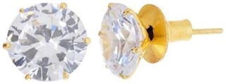 Zcarina Sparkling 10Mm Solitaire American Diamond Stud Earrings (Pack Of 5)