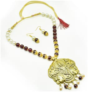 Alloy Gold;Maroon Temple Necklace
