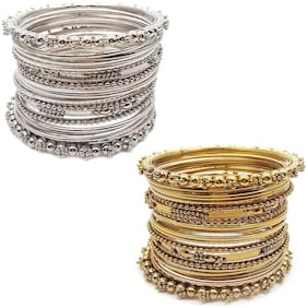 Zcarina Traditional Silver & Gold Plated Oxidized Bracelet Bangles Combo of 2 Set For Girls and Women