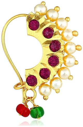 Zcarina Traditional Maharashtrian Nath Nose Ring Pink Colour Stone Gold Plated Pearl Beads for Women and Girl