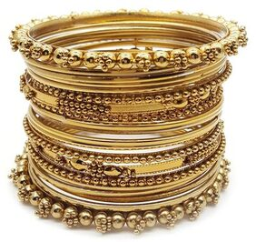 Zcarina Traditional Wedding Gold-Plated Bracelet Bangle Set For Women