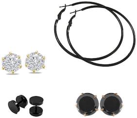 Zcarina Trendy Set of Stud and Hoop Earrings for Girls Set of 4 Pair of Earrings