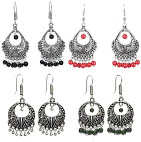 Zcarina Trendy Combo of Four Stylish Multicolour Beaded Oxidised Silver Plated Chandbali Jhumki Earrings