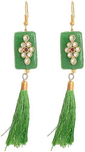 Zcarina Trendy Green Tassel Drop Earring for Girls