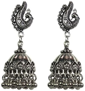 Zcarina Tribal Collection Designer Fusion Jhumka Jhumki earrings for girls stylish hanging womens earrings