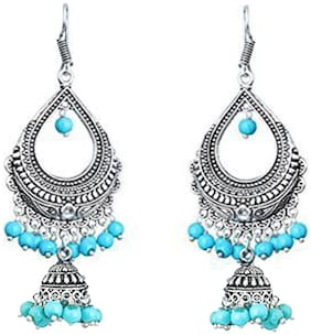 Zcarina Turquoise Pearl Silver Plated Chandelier Bali Jhumki Earring For Party wear Wedding Jewellery Festive Special
