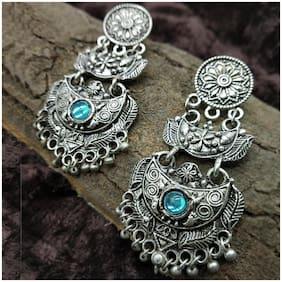 Zcarina Vintage Oxidised Hoop Dangler Hanging Chandbali Antique Jewellery Earring Set