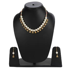 Zcarina White Pearl Beads Necklace Jewelry Set