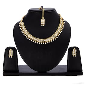 Zeneme Latest CZ and Pearl Necklace Set Gold Plated Jewellery with Earrings for Women & Girls.