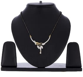 Zeneme Stylish Leaf Deasign American Diamond Studded Mangalsutra Pendant with Chain For Women (Style-3)