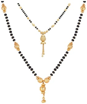 Zeneme Women's Pride Designer Gold Plated Mangalsutra Pendant with Chain for Women Combo of 2