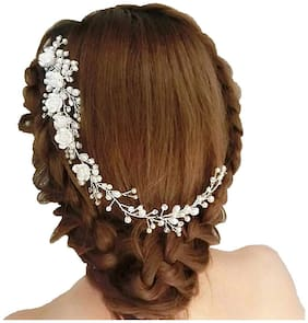 Ziory 1pc Crystal White Bridal Pearl Wedding White Flower Vine with Comb Hairpin Hair Clip Wedding Partywear Hair Jewellery for Girls and Women