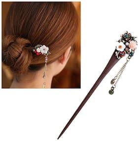 Ziory Multicolour Women Ladies Vintage Wooden Hair Stick Pin Handmade Rhinestone Flower Wood for Girls and Women (Juda Pin)