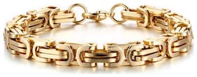 ZIVOM 316L Stainless Steel Thick 3D Gold Plated Byzantine Stylish Bracelet For Men