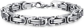 ZIVOM 316L Stainless Steel 3D Byzantine Silver Plated S Stylish Bracelet For Men