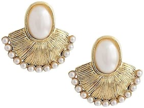 ZIVOM Antique Gold Plated Oval Pearl Stud Earring For Women