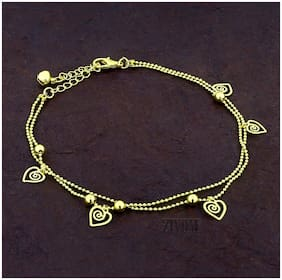 Zivom Heart Love Stylish Indo Western Dainty Delicate Charms Single Leg Anklet For Women&Girls