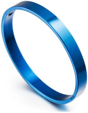 ZIVOM Stylish German Luxury Blue Rhodium Solid 316l Surgical Stainless Steel Openable Bangle Bracelet Kada Boys Men