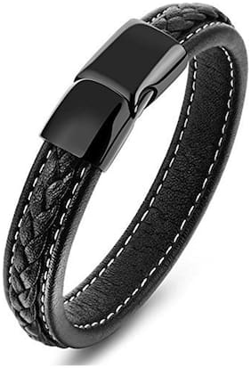 ZIVOM Stylish Center Rope Stich 100% Genuine Handcrafted Black Leather Charm Wrist Band Multi Strand Bracelet Men