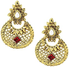 ZIVOM Traditional Chand Bali Ruby Antique 22K Gold Plated Pearl Earring For Women