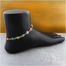 Zivom Turkish Colorful Evil Eye Stylish Western Dainty Delicate Charms Single Leg Gold Anklet For Women&Girls