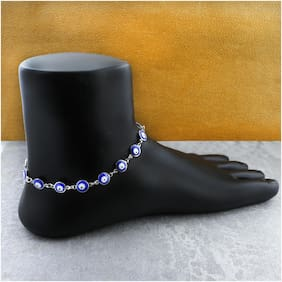 Zivom Turkish Blue Evil Eye Stylish Western Dainty Delicate Charms Single Leg Silver Anklet For Women&Girls