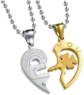 Zivom Valentine 18K Gold Rhodium Stainless Steelpendant Chain Necklace Couple Pendant Pack Of 2 Men Women Boys Girls