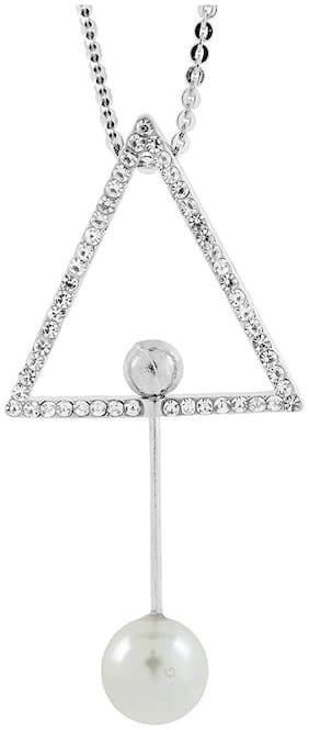 ZivomEternity Triangle Crystal Pearl Cz Western Dress Party Wear Sweater Long Chain Necklace For Girls Women