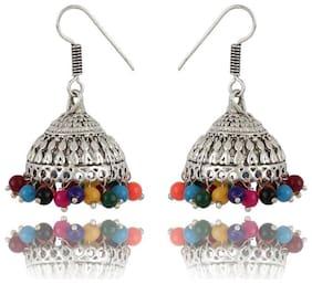 Zooniv Antique Handmade German Silver Oxidised Earrings for Women and Girls