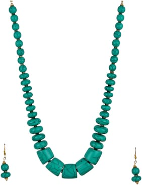 Zooniv Beads Necklace with Earrings for Women ( Turquoise )