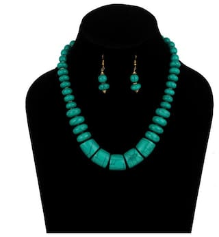 Zooniv Fashion Green Beads Necklace with Earrings for Women and Girls