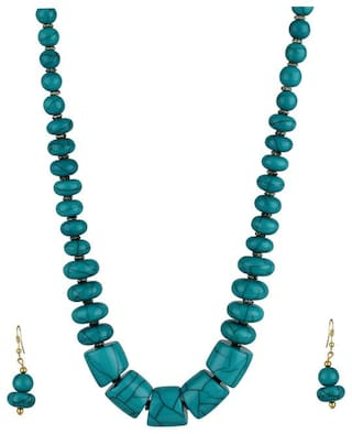 Zooniv Fashion Green Beads Necklace with Earrings for Women & Girls
