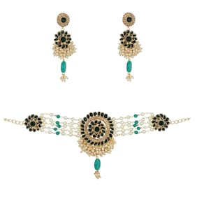 Zooniv Gold plated Necklace Choker Set For Women and girls