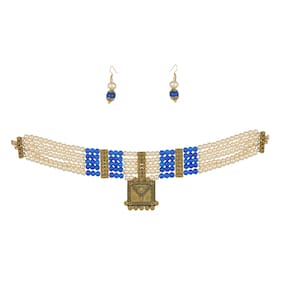 Zooniv Gold Plated Pearl Choker Necklace Set for Women and Girls