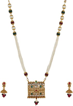 Zooniv Gold Plated Kundan & Pearl Necklace Jewelry Set for Women
