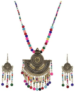 Zooniv Gold Plated Oxidised Jewellery Necklace Set with Earrings for Women (Multicolor)