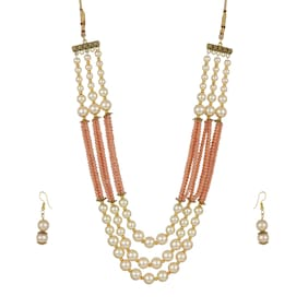 Zooniv Gold Plated Necklace Pearl Set For Women and girls (Peach)